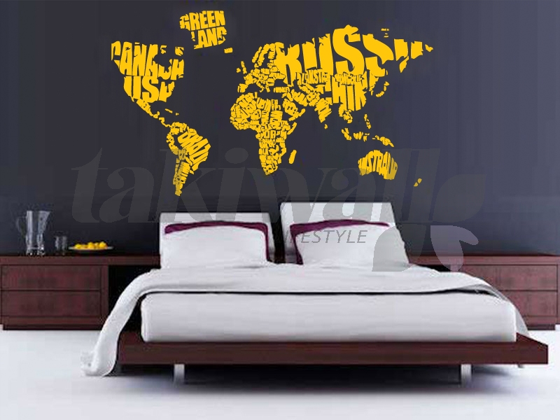 World map in a different style alphabets arranged according to names of major nations the world seal map sticker is not just fun but its innovative as